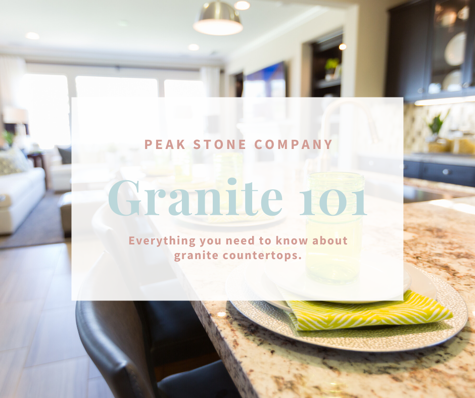 granite kitchen with blog title