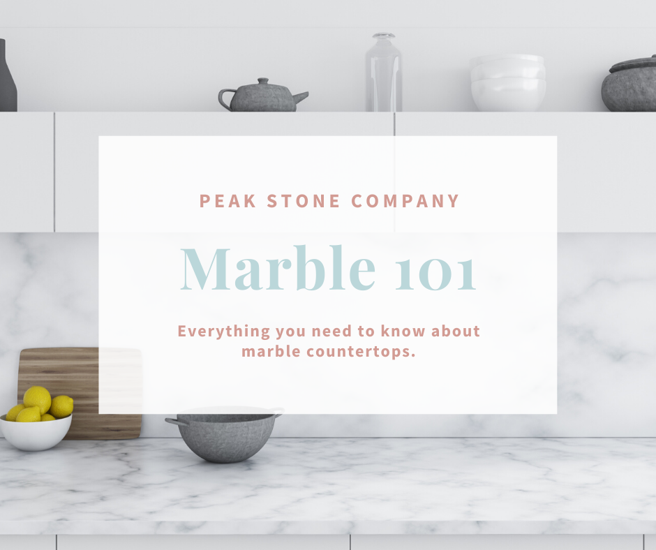 Marble kitchen countertop with blog title