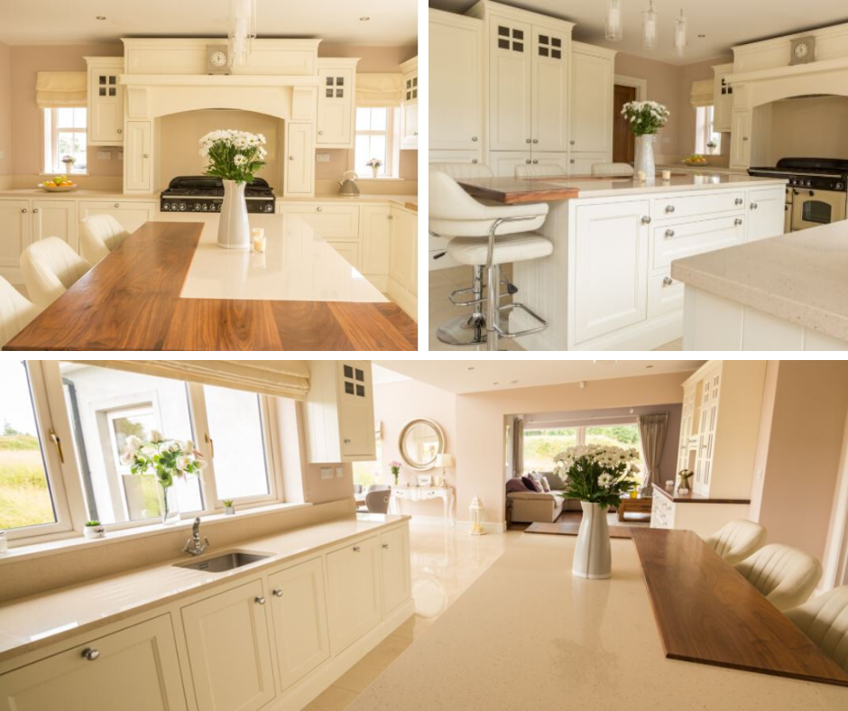 three photo collage of cream colored kitchen with wood butcher block mixed on island