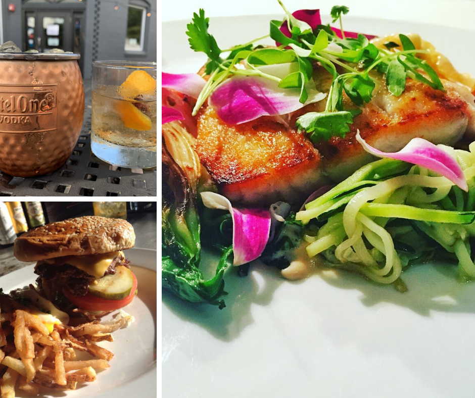 three image collage: bar beverages, cheeseburger with fries, and plated fish dish
