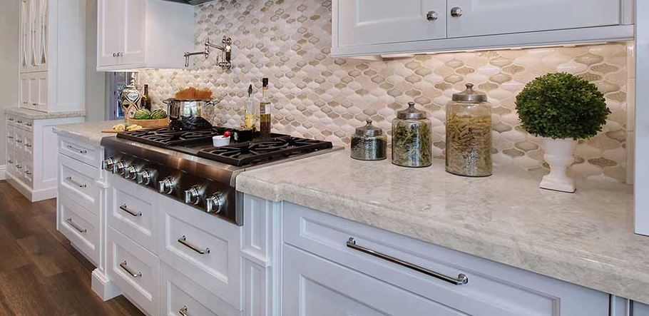 kitchen with Portico Cream quartz countertops